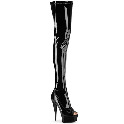Pleaser Delight-3011 Peep Toe Stretch Thigh High Boot