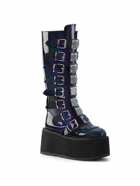Demonia Damned-318 Buckle Strap Knee High Boots