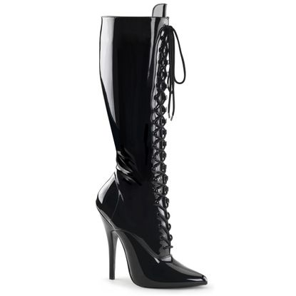 Pleaser Domina-2020 Lace Up Knee High Boot