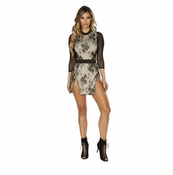 Double Layer, Double Slit Dress with Three Quarter Length Sleeves