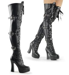 Pleaser Electra-3028 Front Lace-Up Stretch Thigh High Boot