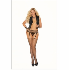 Elegant Moments 12020Q Fence Net Garter Belt Set