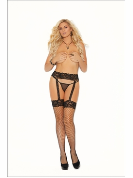 Elegant Moments 12026Q Diamond Net Thigh Hi Stockings