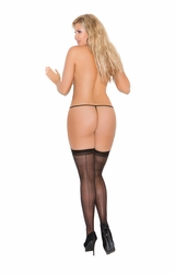 Elegant Moments 1701Q Sheer Back Seam Thigh Hi