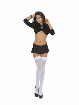 Elegant Moments 1708 Opaque Thigh Hi's with Satin Bows