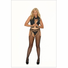 Elegant Moments 1711Q Fishnet Suspender Pantyhose