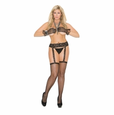 Elegant Moments 1713Q Fishnet Thigh Hi with Lace Garter Belt