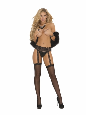 Elegant Moments 1714 Sheer-Thigh Hi with Lace Garter Belt