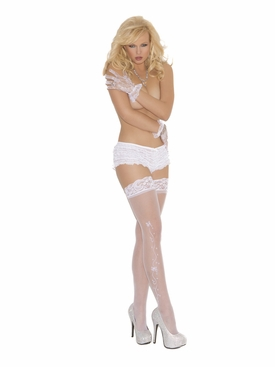 Elegant Moments 1716 Wedding Bells Sheer Thigh Hi's with Lace Top