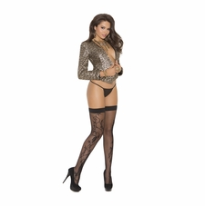 Elegant Moments 1788 Fishnet Thigh Hi with Scroll Design