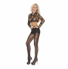 Elegant Moments 1818 Pantyhose with Vertical Vine Detail