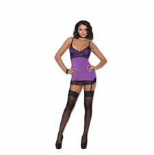 Elegant Moments 4341 Satin Chemise With Garters