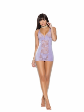 Elegant Moments 4382 Satin Babydoll W/Floral Lace