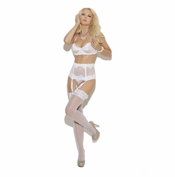 Elegant Moments 5754 Embroidered Mesh Bra with G-String