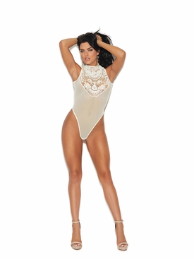 Elegant Moments 77002 Mesh Mock Neck Teddy