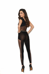 Sheer And Opaque Footless Bodystocking