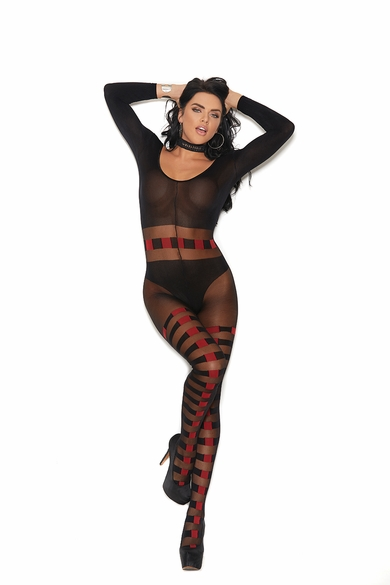 Elegant Moments 82184 SheerAnd Opaque Bodystocking