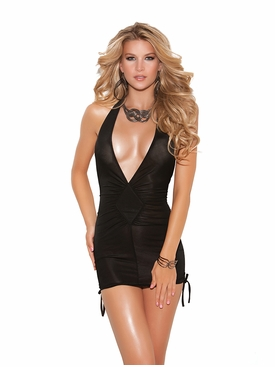Elegant Moments 8252 Deep V Halter Mini Dress