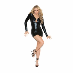 Elegant Moments 8309 Wet Look Mini Dress