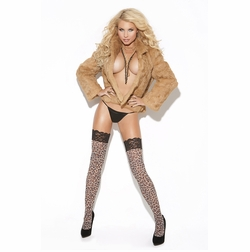 Elegant Moments 8619 Leopard Print Thigh Hi with Lace Top