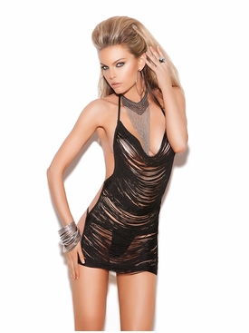 Elegant Moments 8661 Fringe Mini Dress