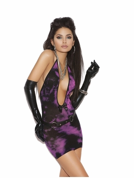 Elegant Moments 8695 Deep V Tie Dye Mini Dress
