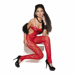 Elegant Moments 8703 Red Lace Bodystocking with Satin Bows
