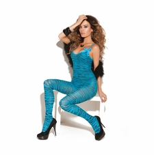 Elegant Moments 8729 Turquoise Print Bodystocking