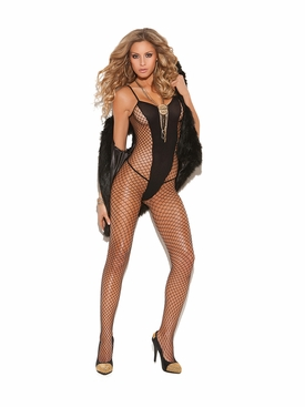 Elegant Moments 8748 Diamond Net and Opaque Bodystocking