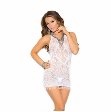 Elegant Moments 88040 Crochet Mini Dress W/Fringe Trim