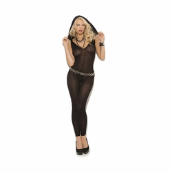 Elegant Moments 8843 Opaque Footless Bodystocking with Hood