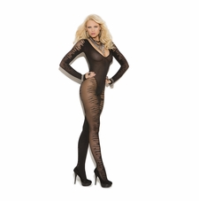 Elegant Moments 8888 Long Sleeve Sheer Jacquard Bodystocking
