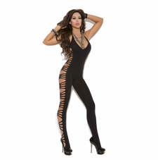 Elegant Moments 8914 Deep V Opaque Bodystocking