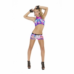 Elegant Moments 8923 Neon Tie Dye Top With Shorts