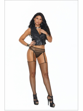 Elegant Moments Fence Net Garter Belt Set