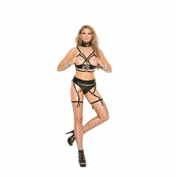 Elegant Moments L1167 Leather Bra Set to 3X