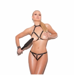 Elegant Moments L1232 Leather Bra with G-String