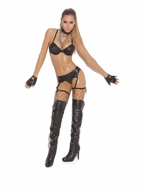 Elegant Moments L9168 Leather Garter Belt