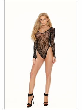 Elegant Moments Long Sleeve Lace Teddy