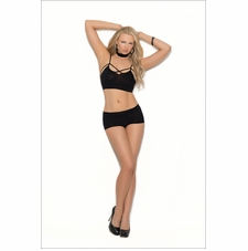 Elegant Moments Opaque Bralette Set With Strappy Front Detail