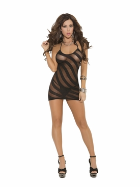 Elegant Moments Opaque Burnout Halter Mini Dress