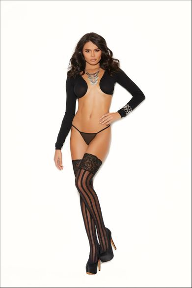 Elegant Moments Striped Thigh Hi Stockings