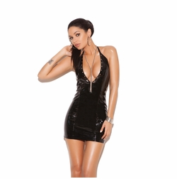 Elegant Moments V8114 Deep V Vinyl Halter Dress