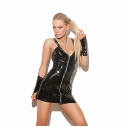 Elegant Moments V8127 Vinyl Mini Dress with Lace Up Back