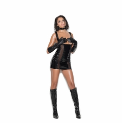 Elegant Moments V8169 Vinyl And Fishnet Cupless Mini Dress