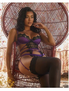 Embroidered Lace & Satin Bustier Set