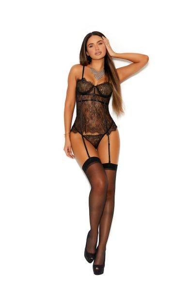 Eyelash Lace Bustier G-String Included