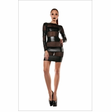 Fetish Fantasy Strapped Down Mesh Blocked Dress