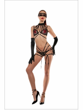 Fetish Fantasy Strapped Mesh Halter Bodysuit
