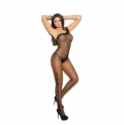 Fishnet Bodystocking With Floral Scroll